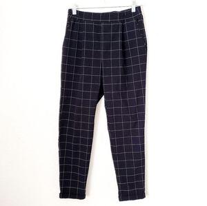 Forever 21 High Rise Navy Window Pane Trouser Pant